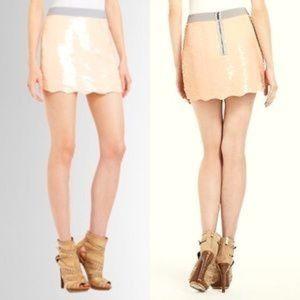 BCBGMaxAzria Scalloped Hem Sequin Mini Skirt